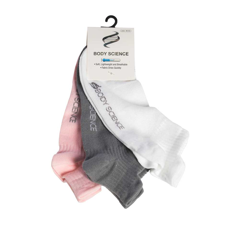 Performance Socks 3-P, White/Grey/Pink